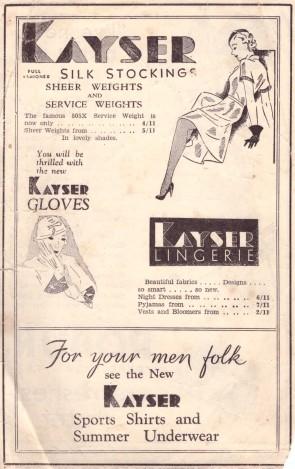 Kayser ad 2 Leader 1930s